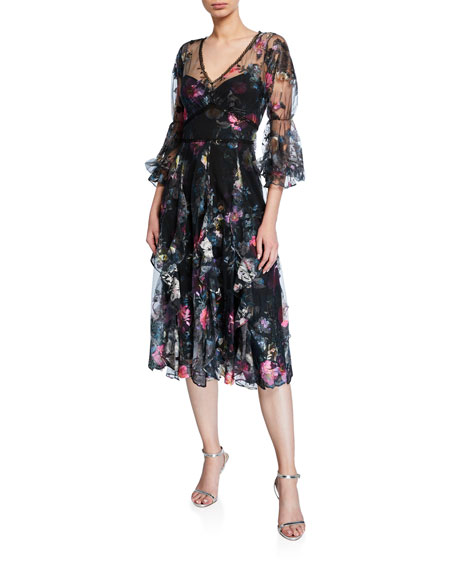 Marchesa Notte V-Neck Embroidered Tulle Cocktail Dress w/ Back Cutout & Bow
