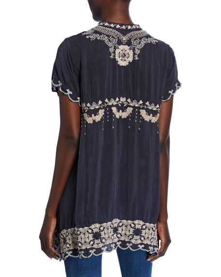 Johnny Was Fletcher Embroidered Short-Sleeve Button-Front Scallop-Edge Tunic