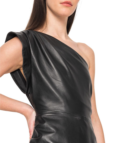 LaMarque Corey One-Shoulder Leather Mini Dress