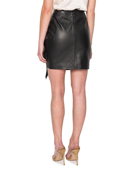 LaMarque Aulis Leather Ruffle Mini Skirt