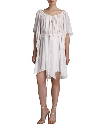 Odysse Beaded Tie-Front Coverup Dress
