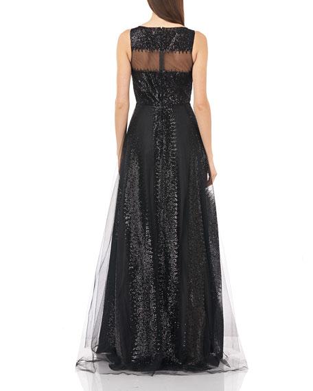 Carmen Marc Valvo Infusion Sequin Stripe Sleeveless Illusion Bodice Tulle Gown