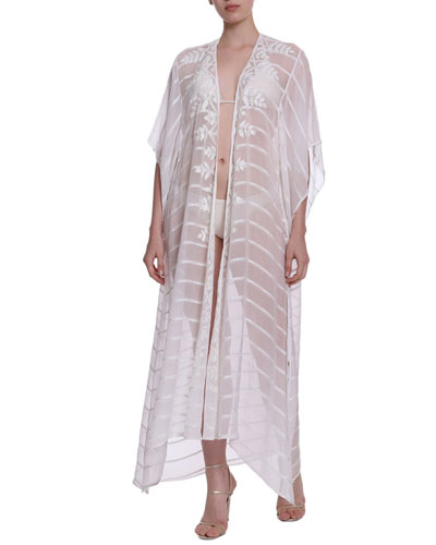 L'Horizon Metallic Striped Kimono