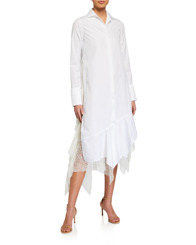 Anais Jourden Poplin Shirtdress with Lace Ruffles
