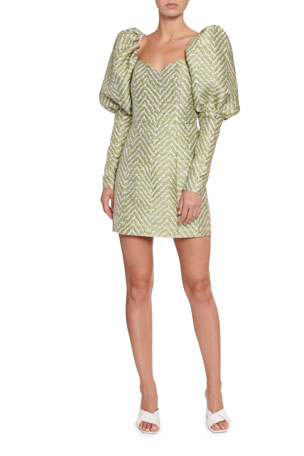 Rotate Birger Christensen Oksana Puff-Sleeve Jacquard Cocktail Dress