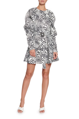 Rotate Birger Christensen Tara Taffeta Animal-Print Dress