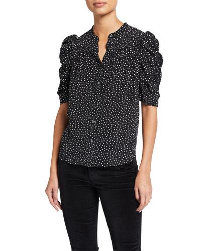 Smocked-Sleeve & Yoke Shirt