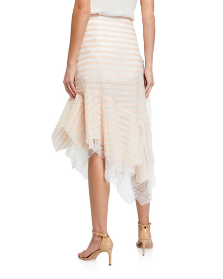 Image 2 of 3: Anais Jourden Striped Lace Handkerchief Midi Skirt