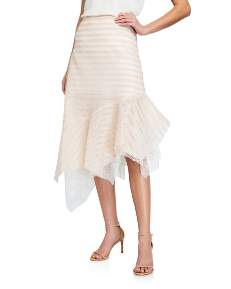 Image 1 of 3: Anais Jourden Striped Lace Handkerchief Midi Skirt