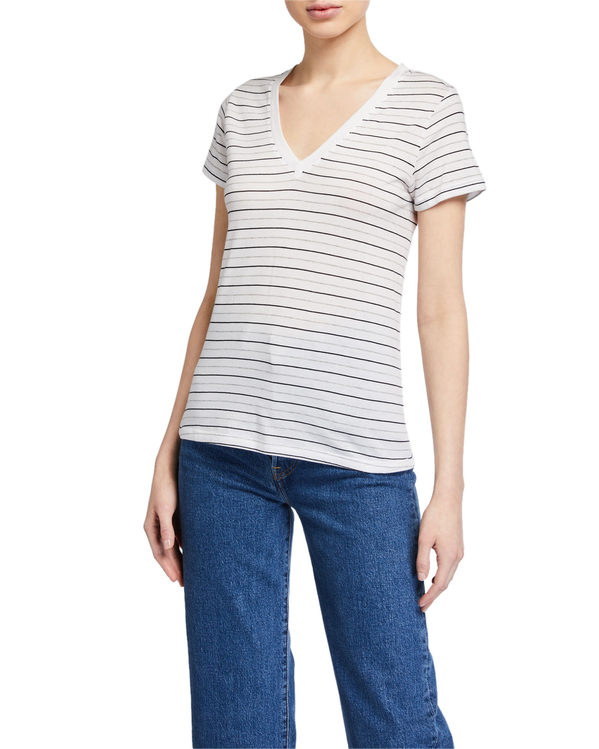 Vince Essential Striped V-Neck Pima Cotton Tee