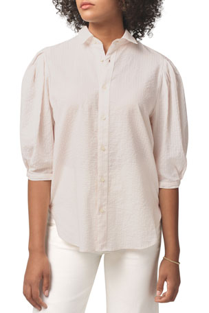 Citizens of Humanity Ines Pleated Half-Sleeve Shirt