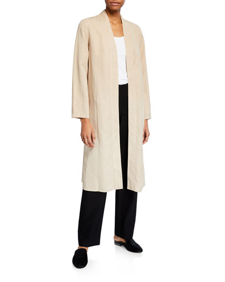 Eileen Fisher Lyocell/Linen Long Open-Front Jacket