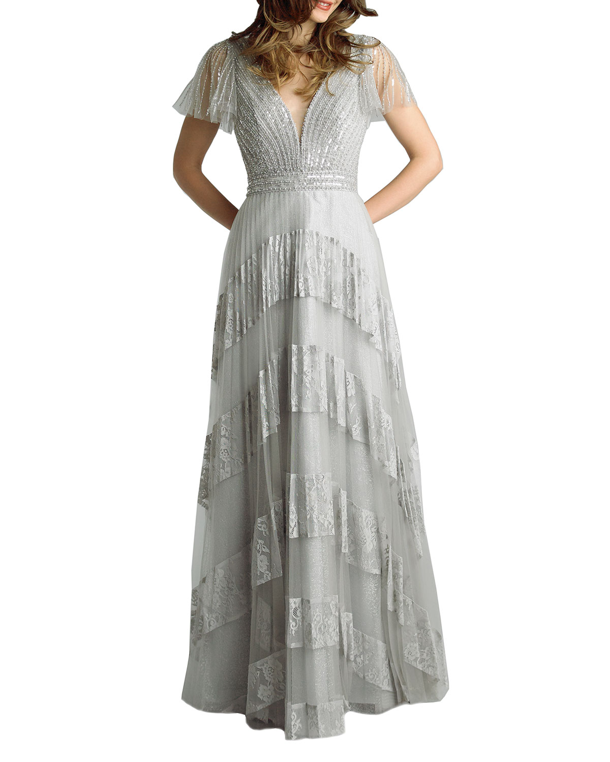 Basix Beaded Embellished Cap-Sleeve Lace Gown