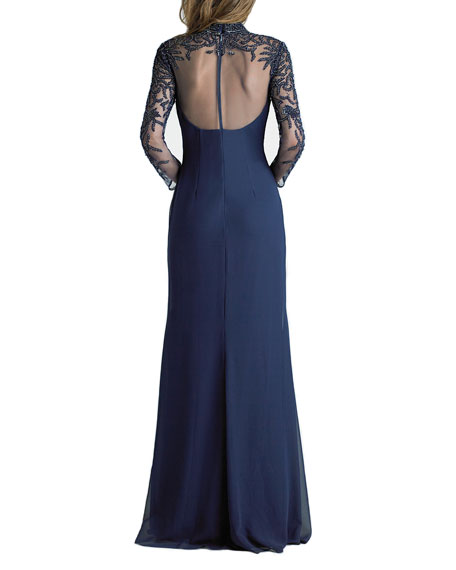 Basix Beaded Mock-Neck Long-Sleeve Sheer-Yoke Gown