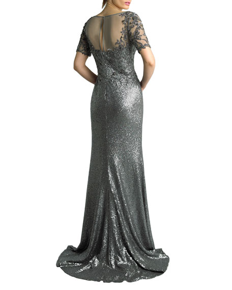 Basix Sequined Boat-Neck Short-Sleeve Sheer-Yoke Column Gown