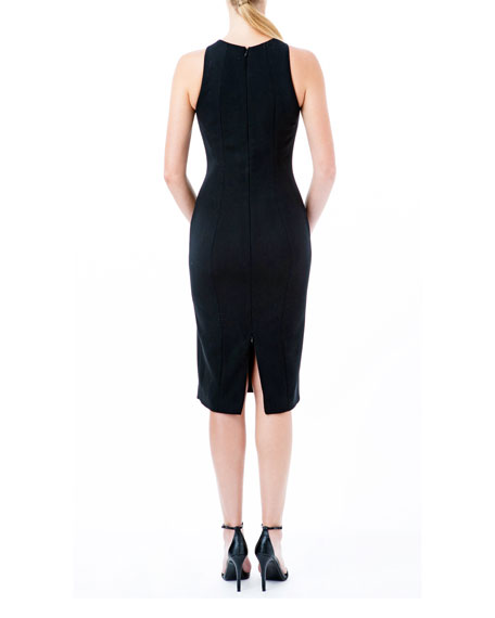 Nha Khanh Sleeveless Sheath Dress with Faux Leather Panel