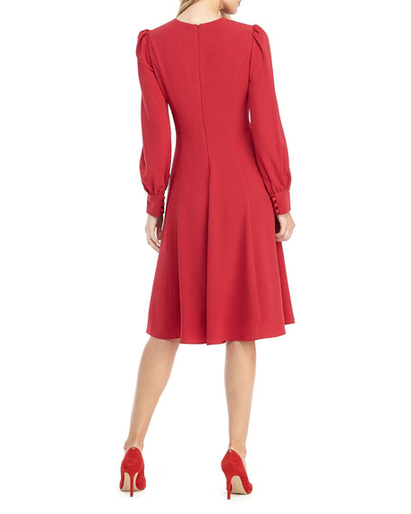 Gal Meets Glam Collection V-Neck Blouson-Sleeve Fit-&-Flare Dress