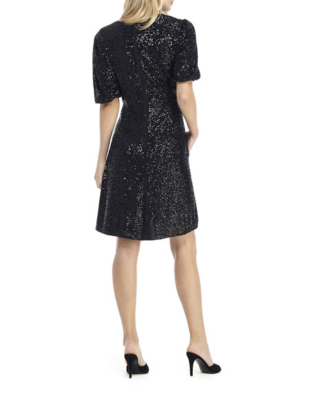 Gal Meets Glam Collection Sequin V-Neck Short-Sleeve Fit-&-Flare Dress