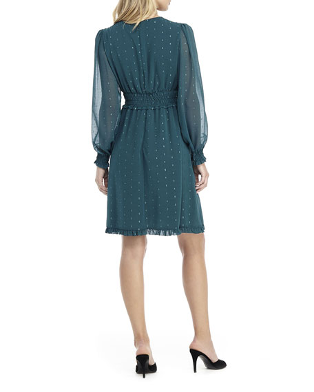 Gal Meets Glam Collection V-Neck Long-Sleeve Smocked Chiffon Fit-and-Flare Dress