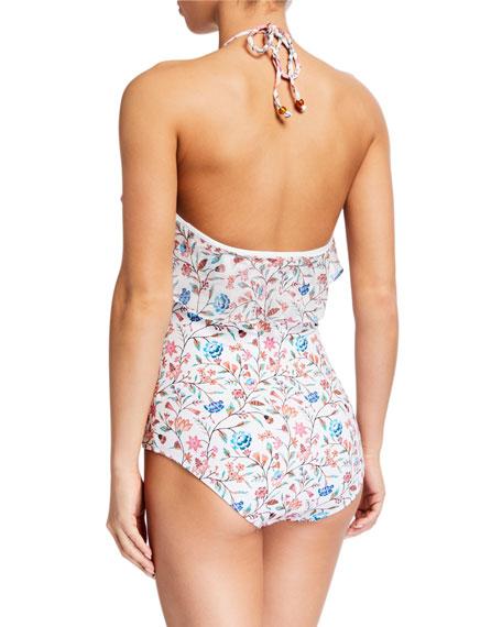 Shoshanna Ruffle Floral-Print Halter One-Piece Swimsuit
