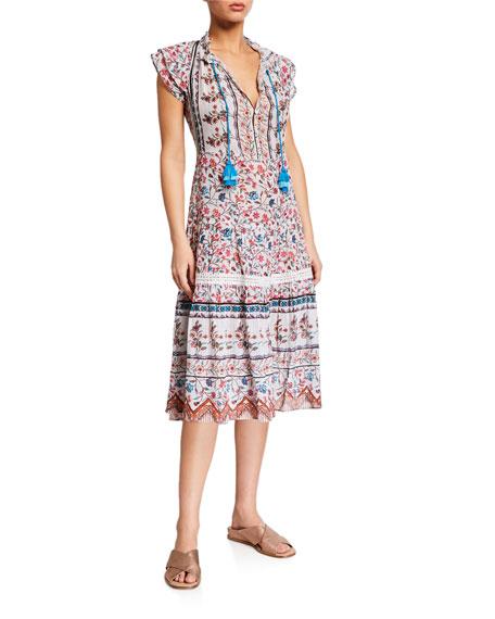 Shoshanna Floral-Print Swing Midi Dress