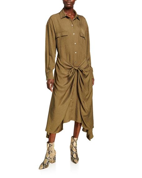 Vince Tie-Front Utility Shirt Dress