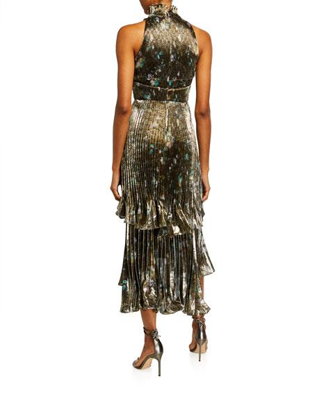 flor et.al Whitney Metallic Floral Pleated Midi Halter Gown