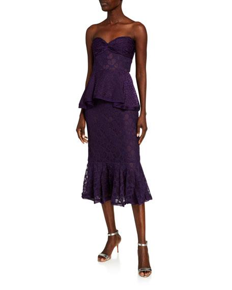 flor et.al Ashley Strapless Heart Lace Peplum Midi Dress