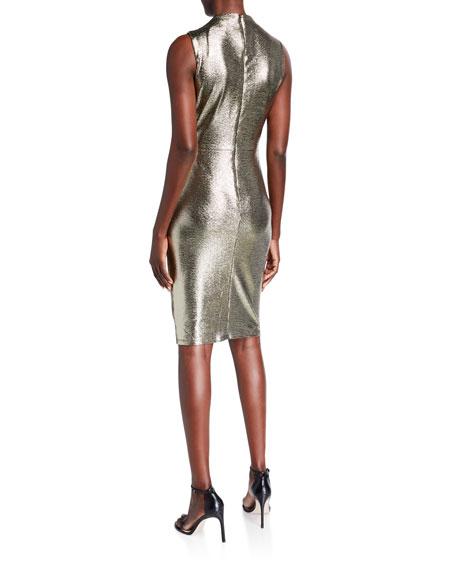 Black Halo Corrine Foiled Jersey Sheath Dress