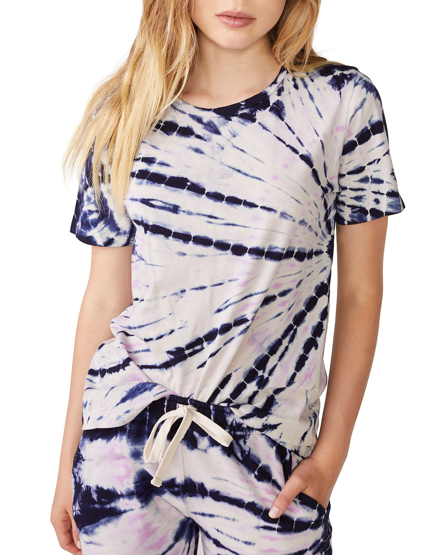 Monrow Bamboo Burst Tie Dye Oversized Crewneck Tee Shirt
