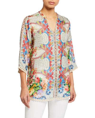 Blush Button-Down Silk Blouse