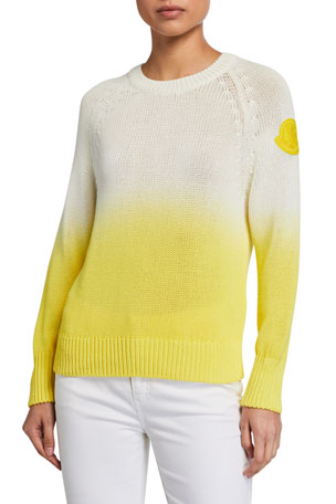 Moncler Cotton Long-Sleeve Ombre Sweater