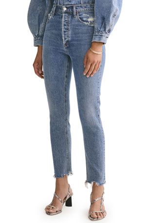 AGOLDE Nico High-Rise Slim Jeans with Chewed Hem