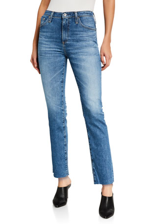AG Adriano Goldschmied Isabelle High-Rise Straight Cropped Jeans