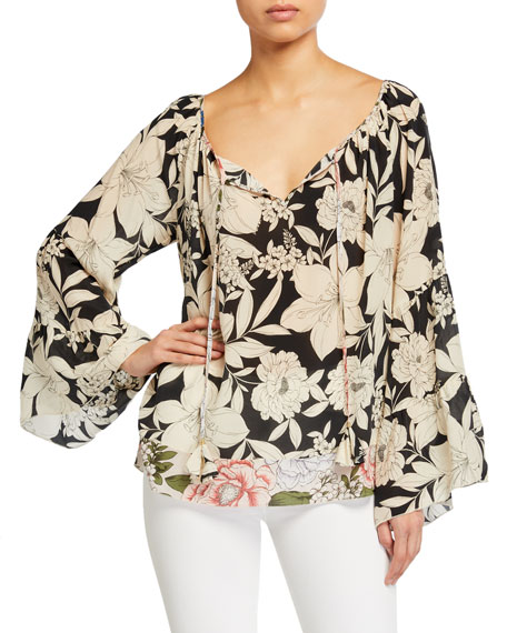 Johnny Was Eva Floral Tiered-Sleeve Silk Blouse