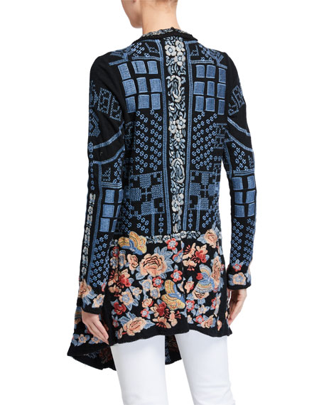 Johnny Was Klori Embroidered Knit Jacket