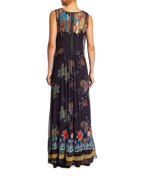 Johnny Was Japera Printed Mesh Sleeveless Dress