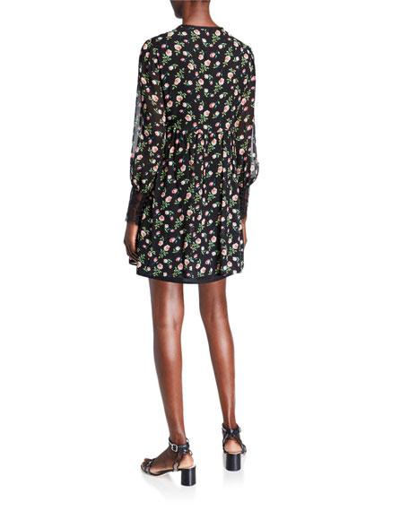 Nanette Lepore Rose Chiffon Lace-Trim Silk Dress