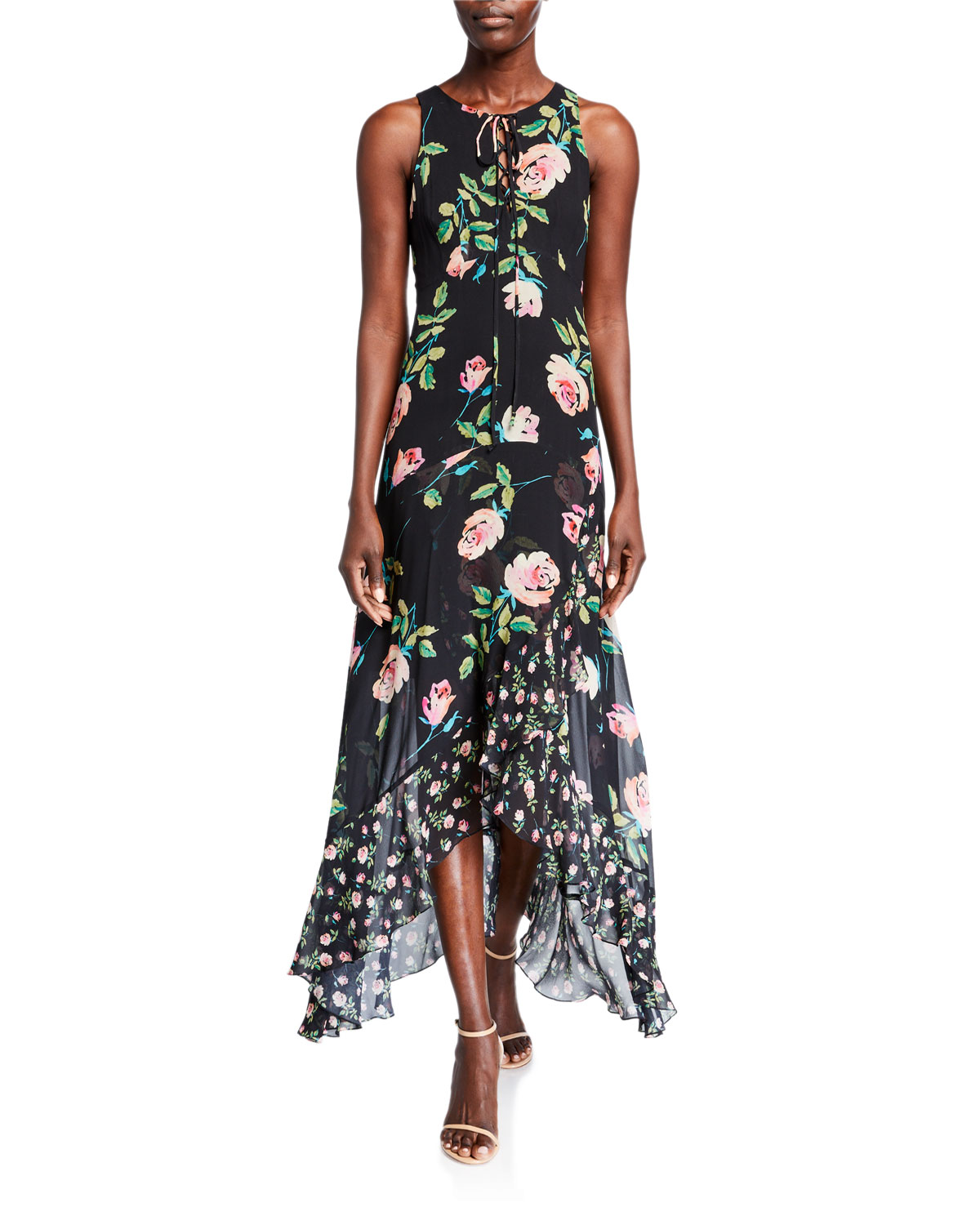 Nanette Lepore Roses Lace-Up Sleeveless High-Low Maxi Dress
