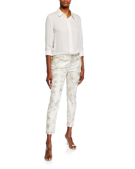 Jen7 by 7 for All Mankind Printed High-Rise Ankle Skinny Jeans