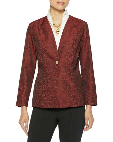Misook Wispy Pattern One-Button Woven Jacket