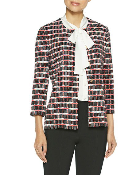 Misook Graphic Check Jacquard Knit Jacket