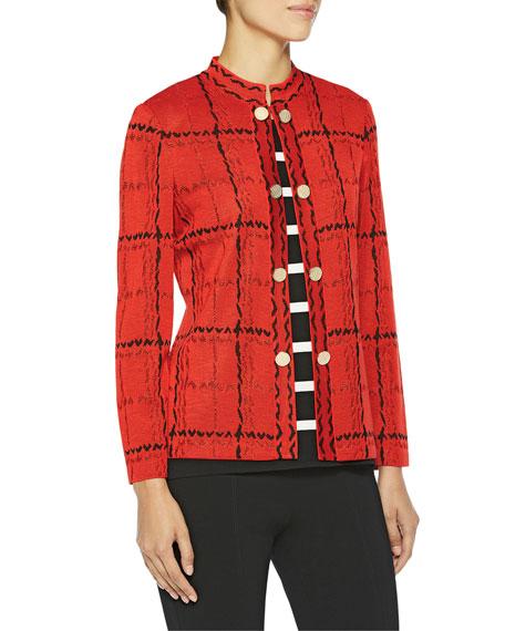 Misook Grand Plaid Knit Jacket