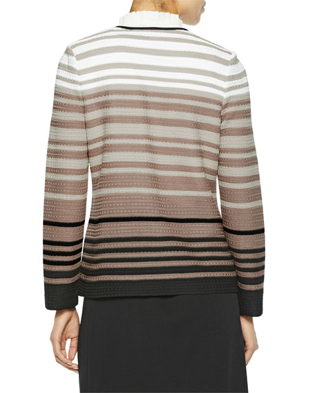 Misook Graduated Stripe Knit Jacket