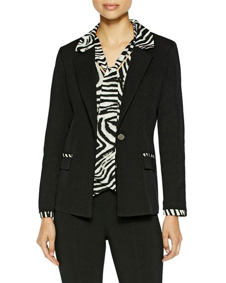 Misook Zebra Trim Black Knit Blazer
