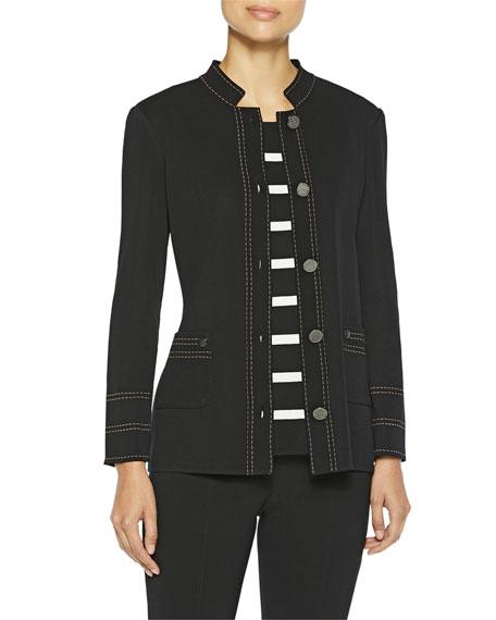 Misook Plus Size Contrast Dash Trim Knit Jacket