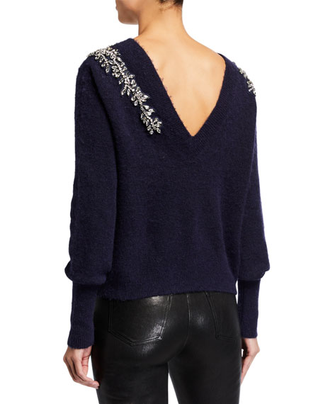 Veronica Beard Valerie Jewel-Shoulder Fluffy Sweater