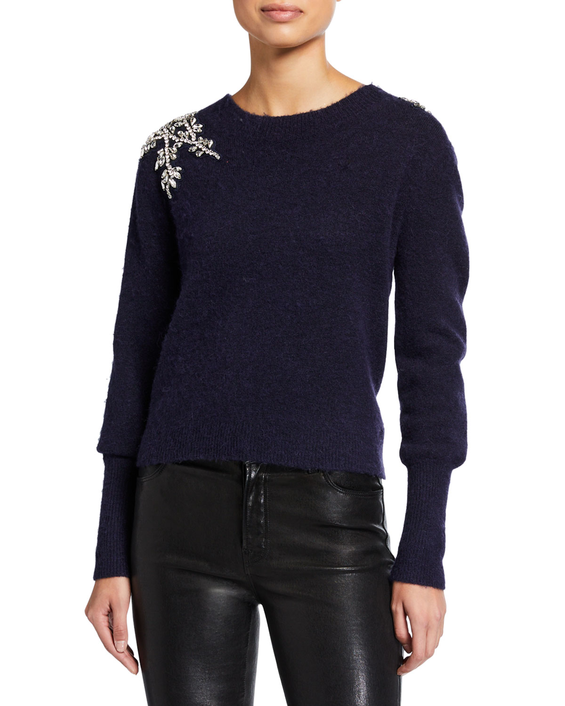 Valerie Jewel Shoulder Fluffy Sweater by Veronica Beard