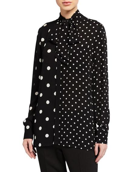Elie Tahari Nina Mixed-Dot Long-Sleeve Tie-Neck Shirt
