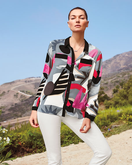 Image 2 of 3: NIC+ZOE Petite Masterpiece Print Button-Front Easy Shirt